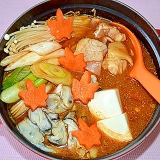 とり野菜みそでピリ辛味☆牡蠣と鶏肉の鍋