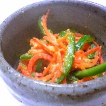 にんじんぴーまん味噌炒め