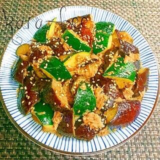 旬を食べよう♡ナスとズッキーニのツナ味噌炒め