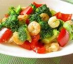 えびとブロッコリーの炒め物