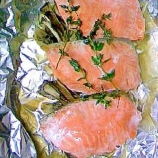 フレッシュタイムで鮭のホイル焼き