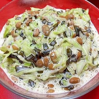 キャベツと納豆と刻みわかめの健康サラダ
