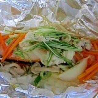 塩麹風味野菜たっぷり鮭のホイル焼き