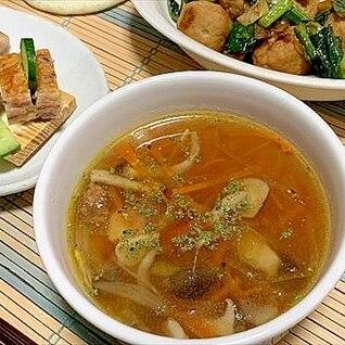 きのこのオリーブオイル炒め鍋お片付けコンソメスープ