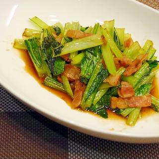 小松菜とベーコンのオイスター炒め