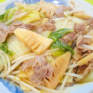 白菜と筍もやし豚肉の中華炒め煮