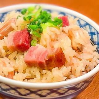 生落花生と肉厚ベーコンの炊き込みご飯★
