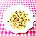 煮豆とソーセージのスクランブルエッグ