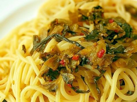フライパン不要☆高菜と柚子こしょうのスパゲッティ