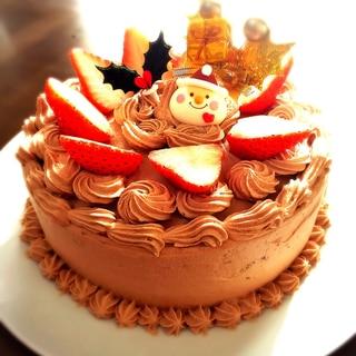 シフォン風ココアスポンジ♡チョコのクリスマスケーキ