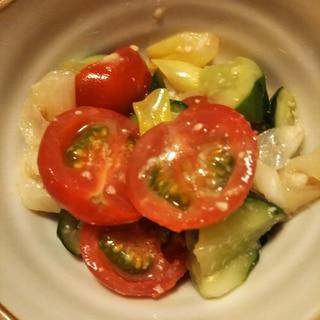 焼きねぎとトマトときゅうりの酢味噌あえ