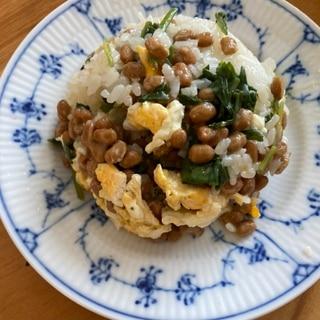ほうれん草と卵の白だし納豆チャーハン