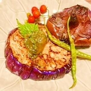 大きな丸茄子☆ステーキ