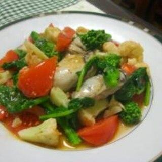 牡蠣と菜の花、カリフラワーのオリーブオイル炒め