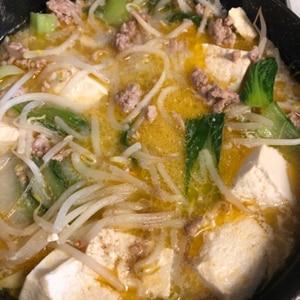 キャベツともやしたっぷり!簡単坦々風豆乳スープ♪