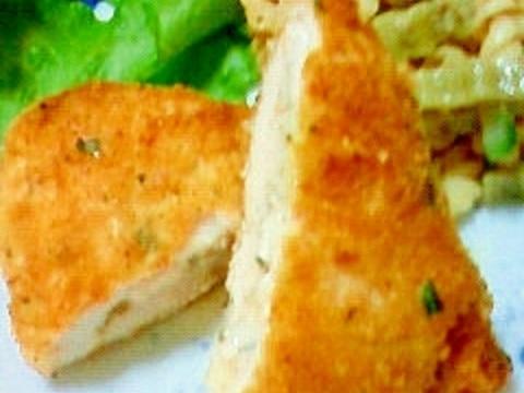 ささみとチーズのハーブパン粉焼き