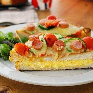 カフェ風 卵たっぷり厚焼きピザトースト