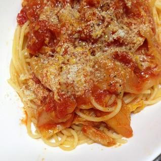 白菜とツナのトマトソースパスタ