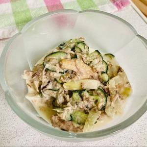 鯖の水煮缶で簡単!鯖とごまときゅうりのマヨサラダ♪