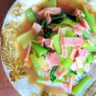 ★小松菜とベーコンの簡単炒め物★