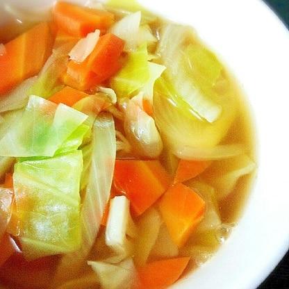 キャベツとニンジンとタマネギの具沢山コンソメスープ