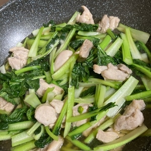 子供が喜ぶ(^^)鶏もも肉と小松菜の甘辛炒め♪