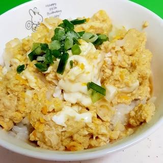 簡単卵ごはん(^^)ゆるふわめんつゆかき玉丼♪