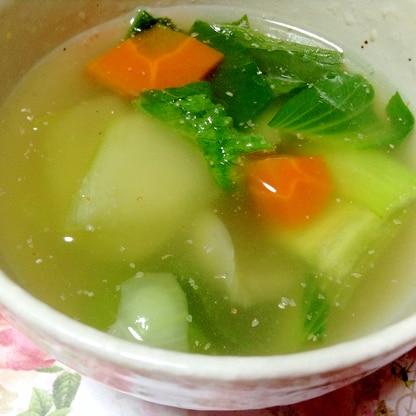 ダシダで☆チンゲン菜と人参のスープ