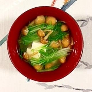 水菜、塩とうふ、なめこのお味噌汁