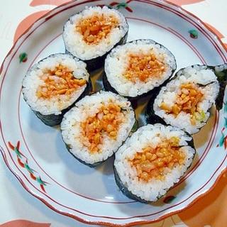 キムチ納豆ののり巻き♪