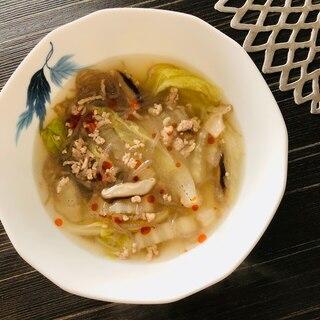 白菜としらたきの酸っぱ旨辛!中華スープ