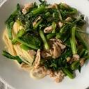 春が旬♡栄養満点!かき菜と塩麹豚の春パスタ