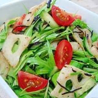炒めレンコンと青野菜とひじきのサラダ