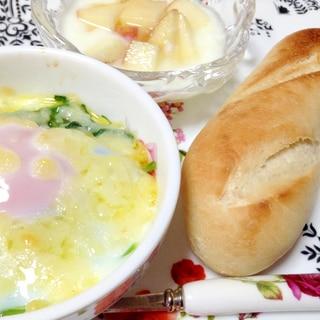 朝食プレート☆ほうれん草ココット&りんごヨーグルト