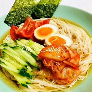 ♡辛くないスープも簡単♪夏にはさっぱり韓国冷麺♡