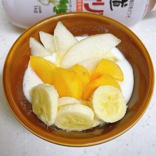 フルーツヨーグルト✨柿梨バナナ