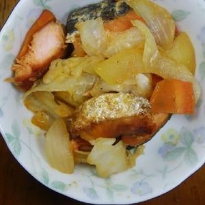 フライパンで♪塩鮭のちゃんちゃん焼き