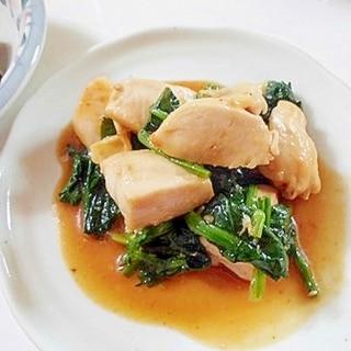 焼肉のたれで ☆ 鶏むね肉とほうれん草の炒め物