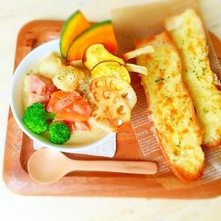 8種の野菜☆カレークリームスープ&チーズバゲット