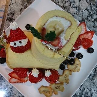 プレーンなフルーツロールケーキ!ブッシュド ノエル