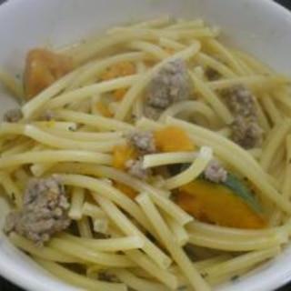 南瓜と挽肉のパスタ