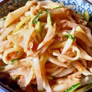 鯖味噌煮缶で、大根サラダ♪