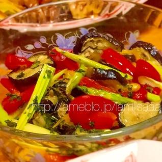 オーブントースターで簡単グリル☆夏野菜の焼きマリネ