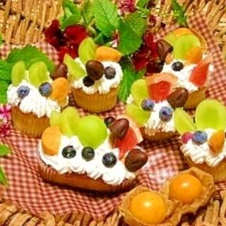 市販のカップケーキで☆秋のフルーツケーキ