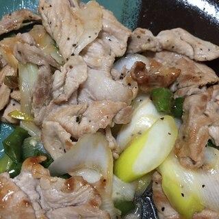 豚コマの青唐辛子と長ネギのナンプラー炒め