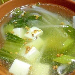 小松菜と豆腐ともやしの中華スープ