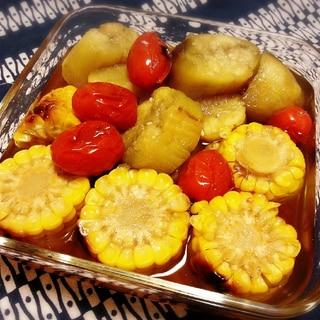 ひんやりサッパリ♪ 焼き夏野菜の出汁煮(´▽`)