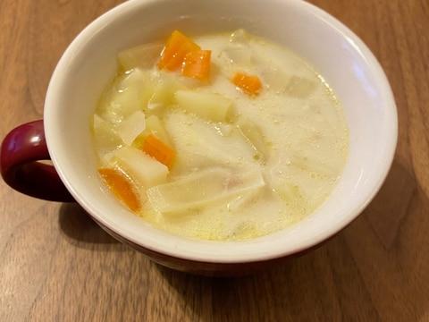 野菜たっぷり ベーコンとミルクのスープ