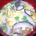 毎日のお味噌汁250杯目*椎茸、卵、グリーンピース
