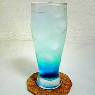 かき氷シロップで☆ブルーハワイカクテル☆